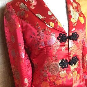 Red Chinese silk military jacket dolls kill